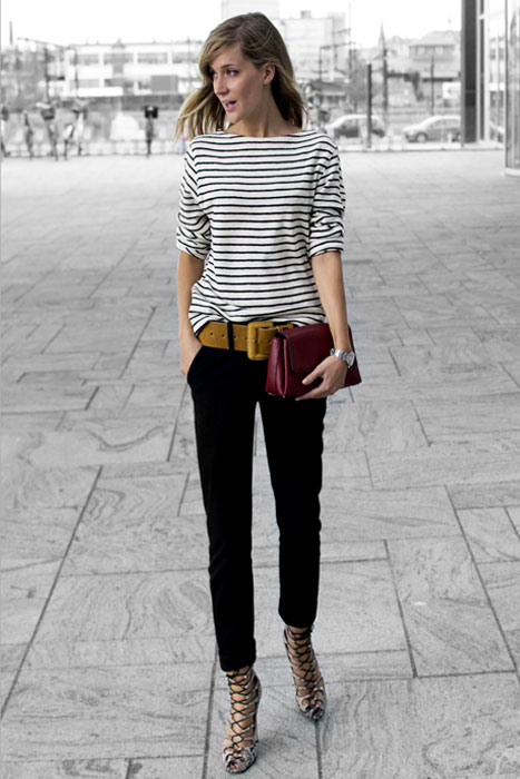 lace up stiletto with stripes