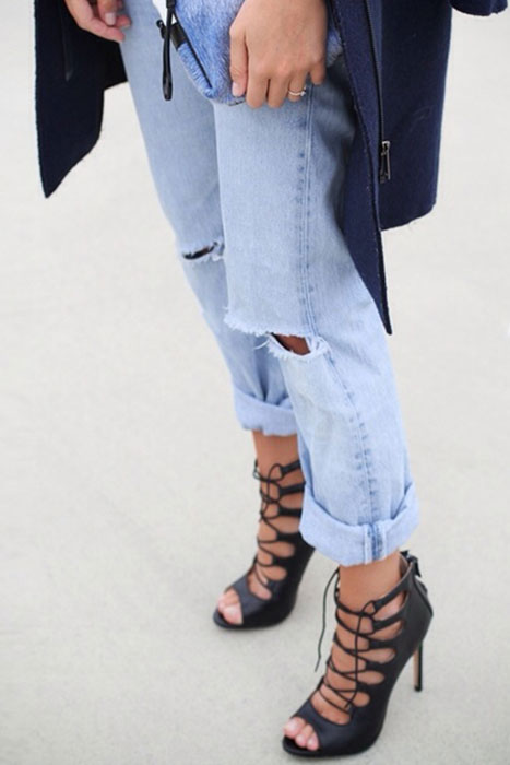 lace up stiletto with boyfriend jeans