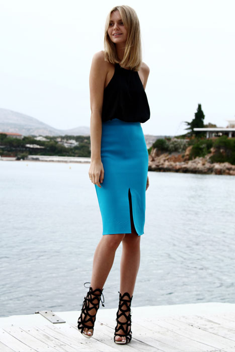 lace up stiletto with neoprene skirt