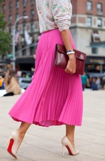 pleated skirt+knit